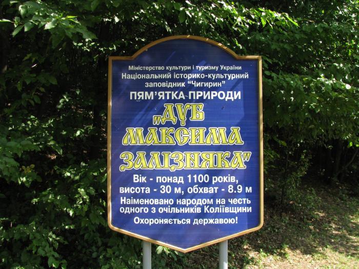 Дуб Максима Залізняка знак