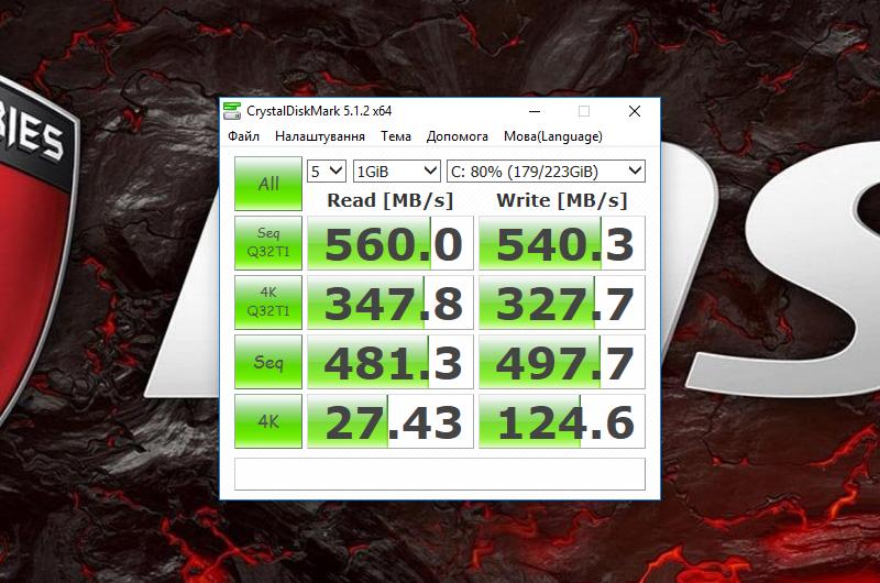 Швидкість системного SSD