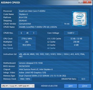 Інформація про процесор