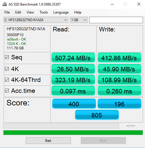 AS SSD Benchmark: mbps